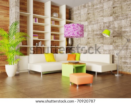 modern interior room with nice furniture inside