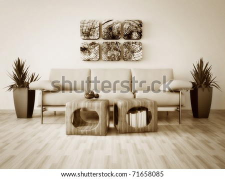 modern interior room with nice furniture inside #71658085