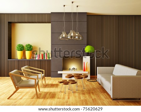 modern interior room with nice furniture inside #75620629