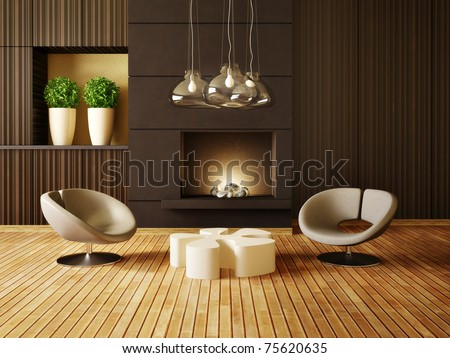 modern interior room with nice furniture inside Foto d'archivio ©