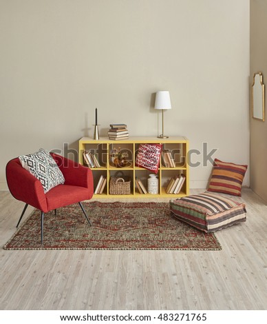 modern interior room with nice furniture inside and lamp