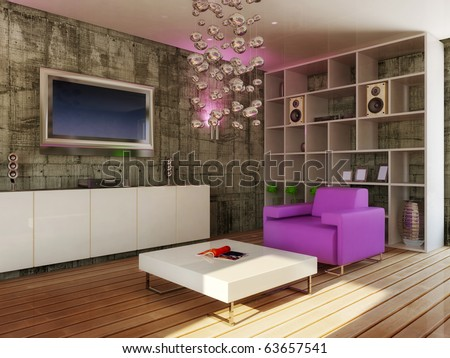 Modern Interior Room With Violet Furniture Stock Photo