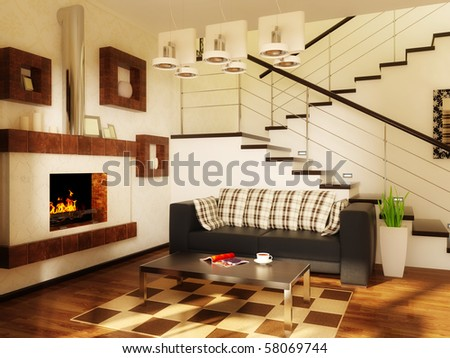 modern interior room with white wall and black sofa