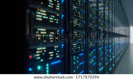 Modern interior server room data center. Connection and cyber network in dark servers. Backup, mining, hosting, mainframe, farm, cloud and computer rack with storage information. Close up,3D rendering