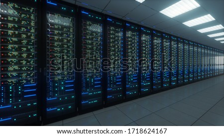 Modern interior server room data center. Connection and cyber network in dark servers. Backup, mining, hosting, mainframe, farm, cloud and computer rack with storage information. 3D rendering