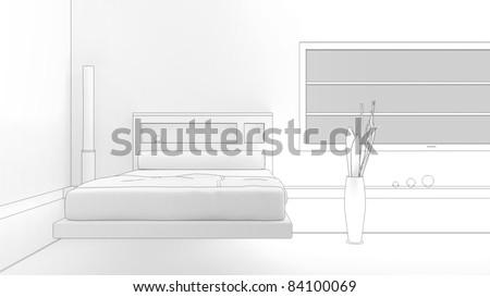 modern interior sketch