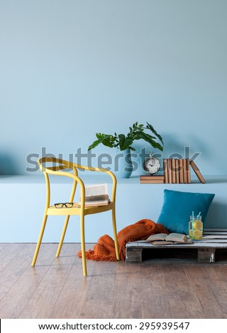 modern interior style with blue wall
