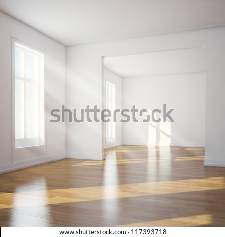 Modern interior- sunlit empty room