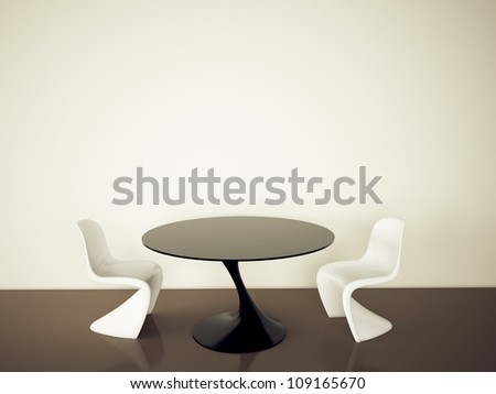modern interior table and chairs. 3d image.