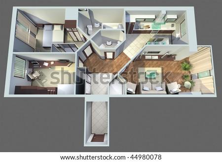 modern interior  top view