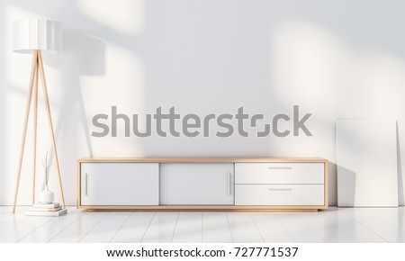 Modern interior wall mockup with console for smart Tv, Poster frame stand, blank canvas on the floor, 3d rendering