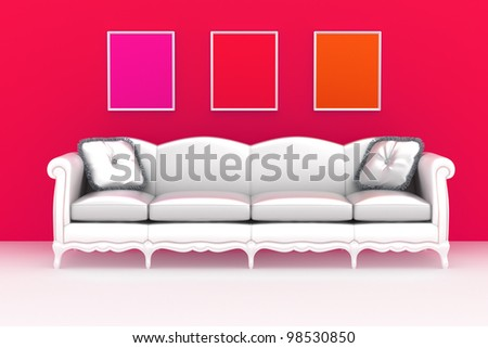Modern interior.  White sofa with pillows over the color background