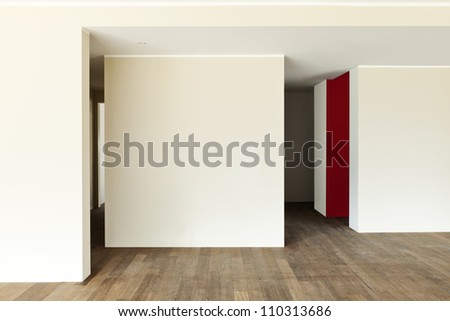modern interior, wide empty apartment, wall white