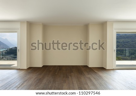 modern interior, wide empty apartment with windows