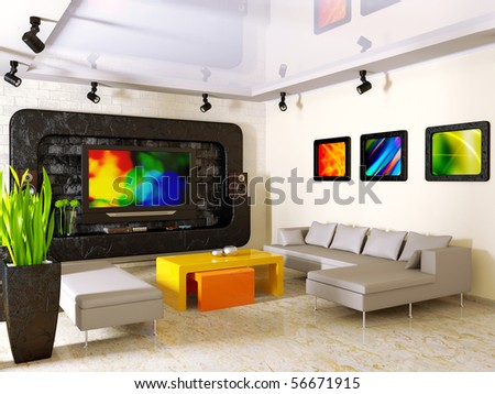 modern interior with big TV on the wall - stock photo