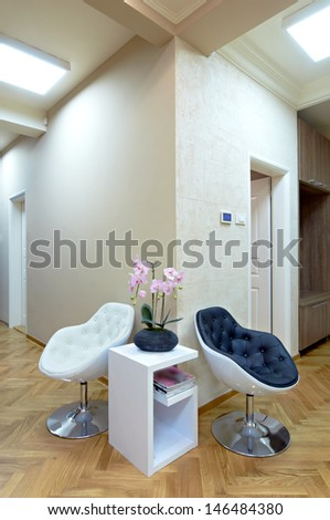 Modern interior with chair and table-waiting room