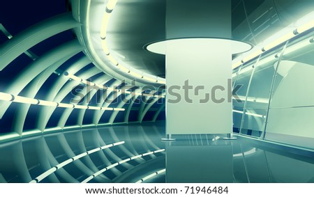modern interior with empty billboard - stock photo