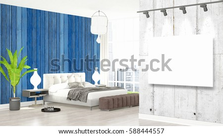 Modern interior with empty frame . 3D rendering #588444557