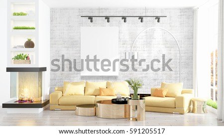 Modern interior with empty frame . 3D rendering #591205517