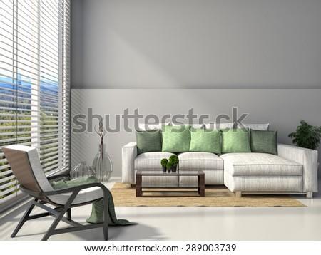 modern interior with furniture. 3d illustration #289003739