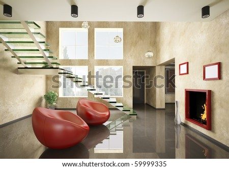 Modern interior with glass staircase and fireplace 3d render - stock photo