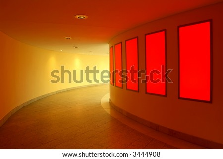 modern interior with red lightwall