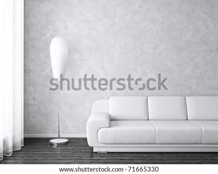 Modern Interior with Sofa and Lamp near  Window in Black and White