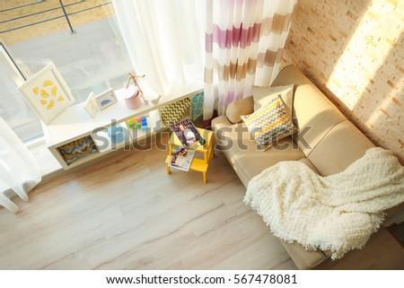 modern interior with sofa ...