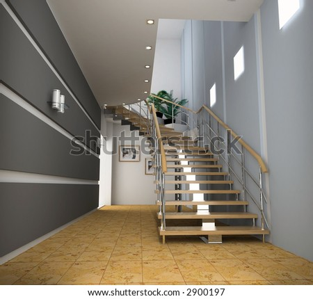 stock photo : modern interior with stair (computer generated image)
