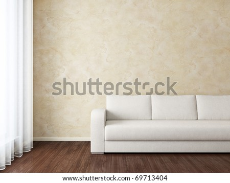 Modern Interior with white sofa near brown wall and window