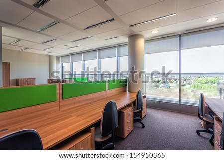 Modern Interior With Wooden And Green Office Furniture