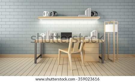 Modern interior Working room and office 3d render #359023616