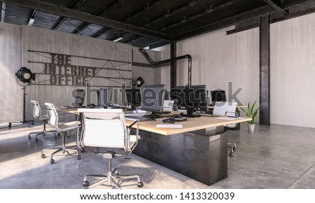 Modern Internet Office in converted industrial loft with long centre table with multiple computers and work stations and structural features. 3d rendering