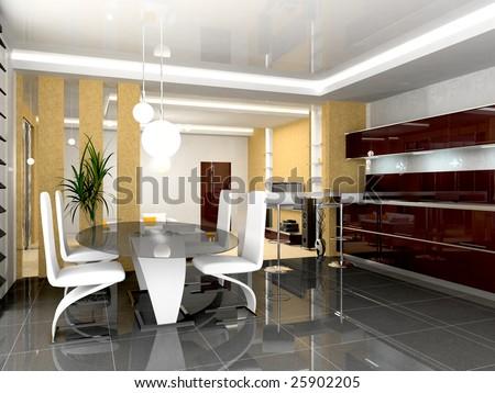 modern interrior of the kitchen room 3D