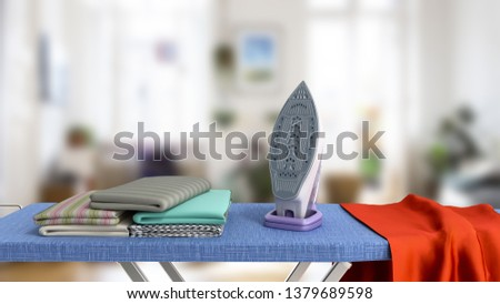 modern iron on the ironing board near the ironed things in the stack 3d render in room