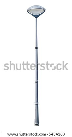 Modern iron street lamp isolated on white background. Clipping path included.