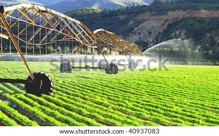 Modern irrigation system watering a farm field