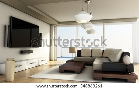 Modern 4K smart TV room with large windows and parquet floor. 3D ...