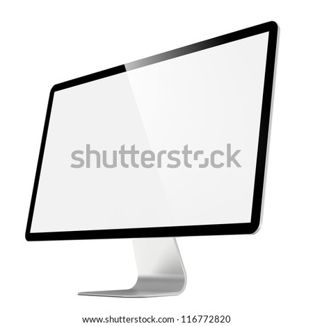 Modern 4k Widescreen Lcd Monitor. Isolated on White.