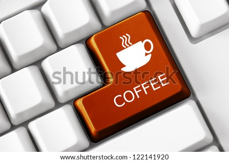 Modern keyboard Coffee text and coffee cup symbol. Technology concept