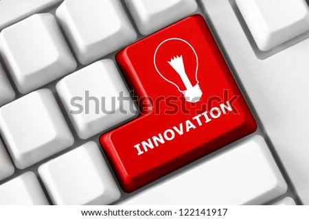 Modern keyboard Innovation text and electric lamp symbol. Technology concept