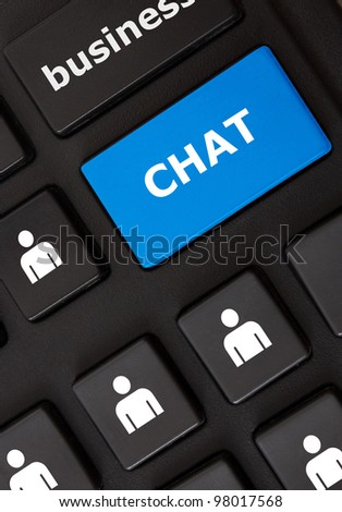 Modern keyboard with chat text and people symbols. Social network concept
