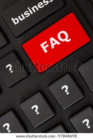 Modern keyboard with FAQ text and question mark symbols.FAQ concept