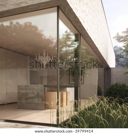Modern kitchen and garden in contemporary house (3D render) - stock photo