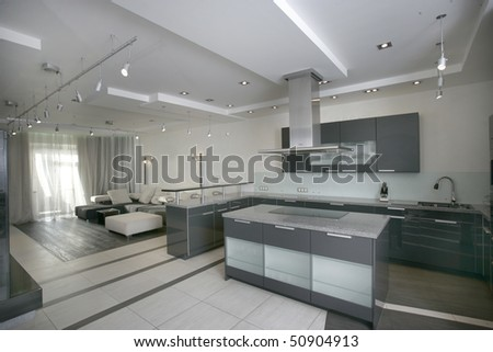 modern kitchen and living room in perspective