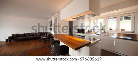 Modern kitchen and luxury living. Nobody inside #676605619