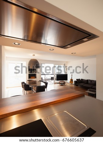 Modern kitchen and luxury living. Nobody inside #676605637