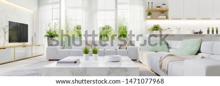 Modern kitchen and modern living room in white interior design. 3d rendering