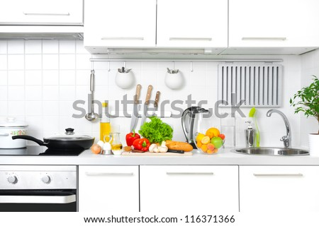 Modern kitchen at home with healthy food Foto d'archivio ©
