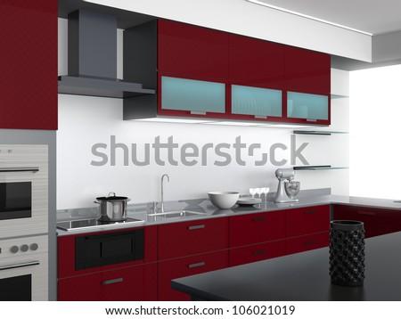 Modern kitchen design with burgundy tone perspective view for Maroon kitchen designs